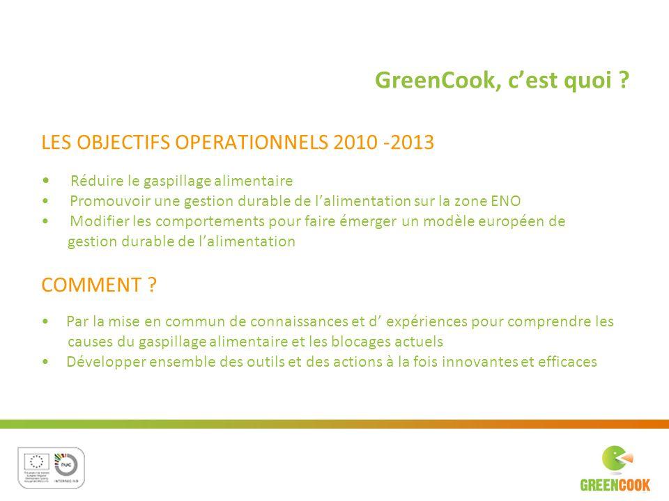 LES OBJECTIFS OPERATIONNELS 2010 -2013 Réduire le gaspillage alimentaire Promouvoir une gestion durable de lalimentation sur la zone ENO Modifier les