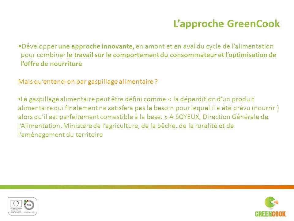 Lapproche GreenCook Développer une approche innovante, en amont et en aval du cycle de lalimentation pour combiner le travail sur le comportement du c