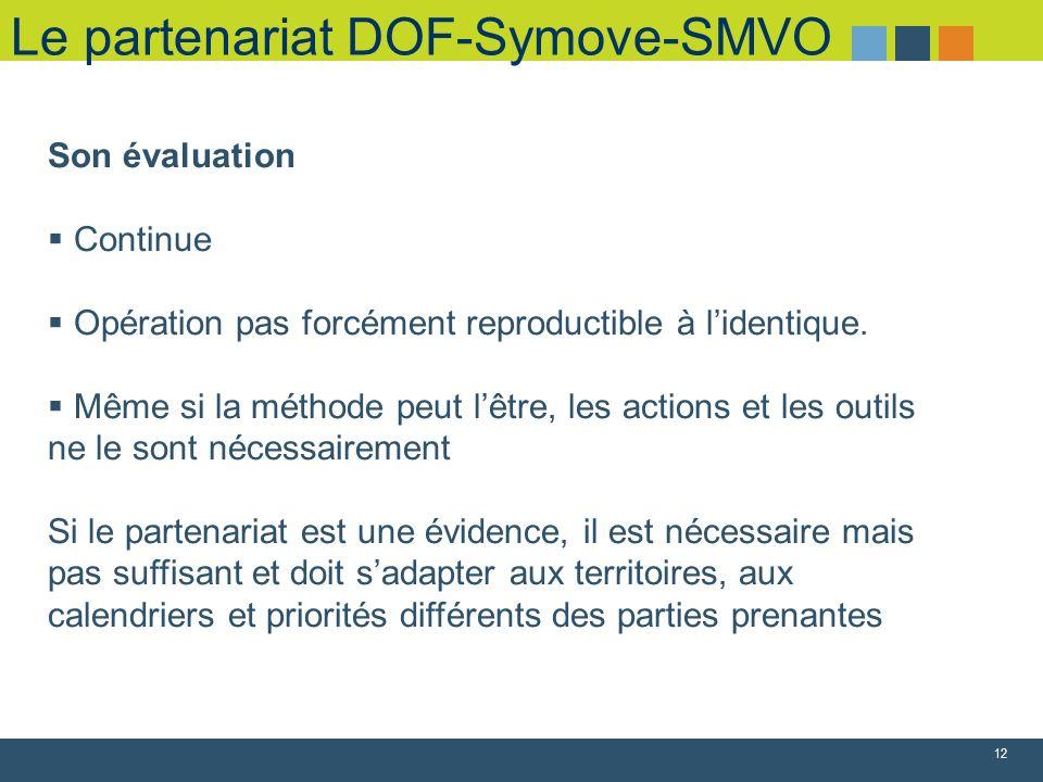 Le partenariat DOF-Symove-SMVO 12 Son évaluation Continue Opération pas forcément reproductible à lidentique. Même si la méthode peut lêtre, les actio