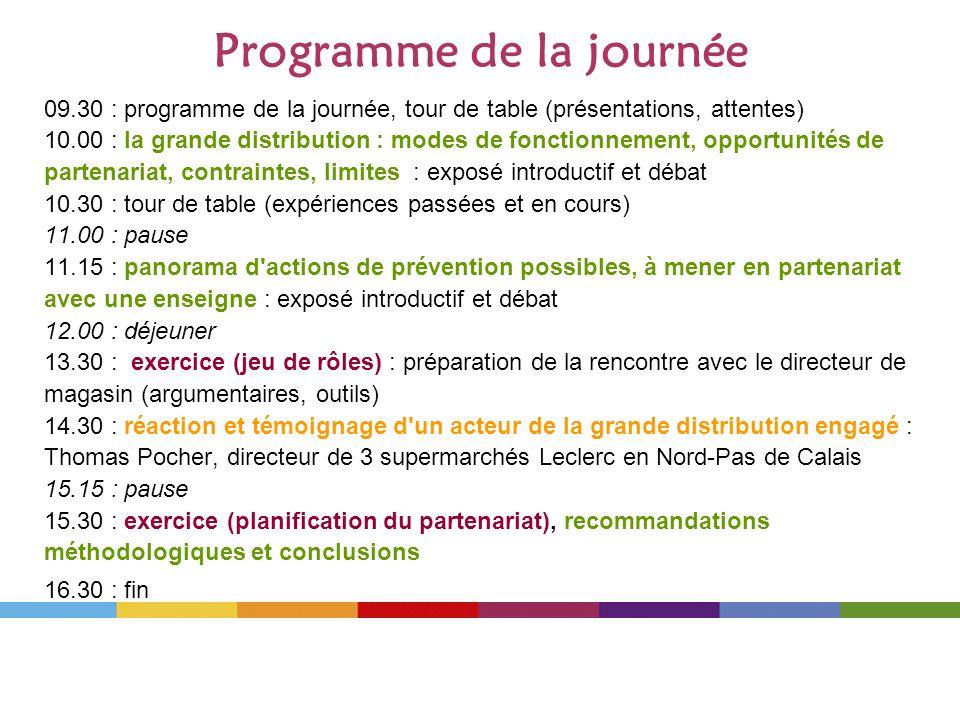 Programme de la journée 09.30 : programme de la journée, tour de table (présentations, attentes) 10.00 : la grande distribution : modes de fonctionnem