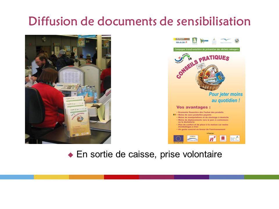 Diffusion de documents de sensibilisation En sortie de caisse, prise volontaire