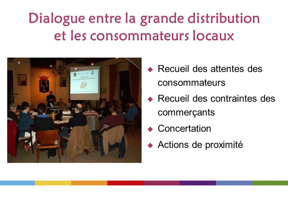 Dialogue entre la grande distribution et les consommateurs locaux Recueil des attentes des consommateurs Recueil des contraintes des commerçants Conce