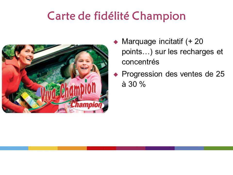 Carte de fidélité Champion Marquage incitatif (+ 20 points…) sur les recharges et concentrés Progression des ventes de 25 à 30 %