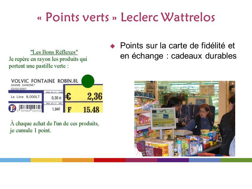 « Points verts » Leclerc Wattrelos Points sur la carte de fidélité et en échange : cadeaux durables