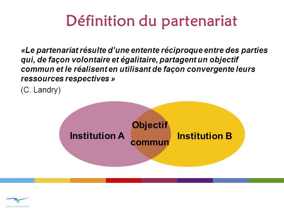 Définition du partenariat «Le partenariat résulte dune entente réciproque entre des parties qui, de façon volontaire et égalitaire, partagent un objec