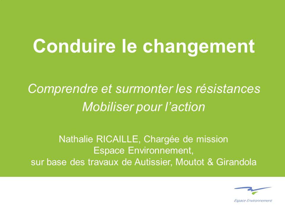Conduire le changement Comprendre et surmonter les résistances Mobiliser pour laction Nathalie RICAILLE, Chargée de mission Espace Environnement, sur