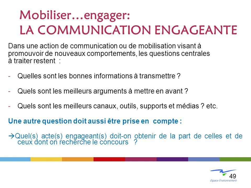 Dans une action de communication ou de mobilisation visant à promouvoir de nouveaux comportements, les questions centrales à traiter restent : -Quelle
