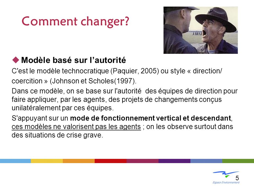 Modèle basé sur lautorité C'est le modèle technocratique (Paquier, 2005) ou style « direction/ coercition » (Johnson et Scholes(1997). Dans ce modèle,