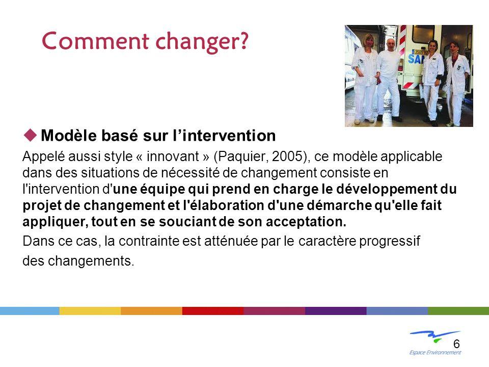 Modèle basé sur lintervention Appelé aussi style « innovant » (Paquier, 2005), ce modèle applicable dans des situations de nécessité de changement con
