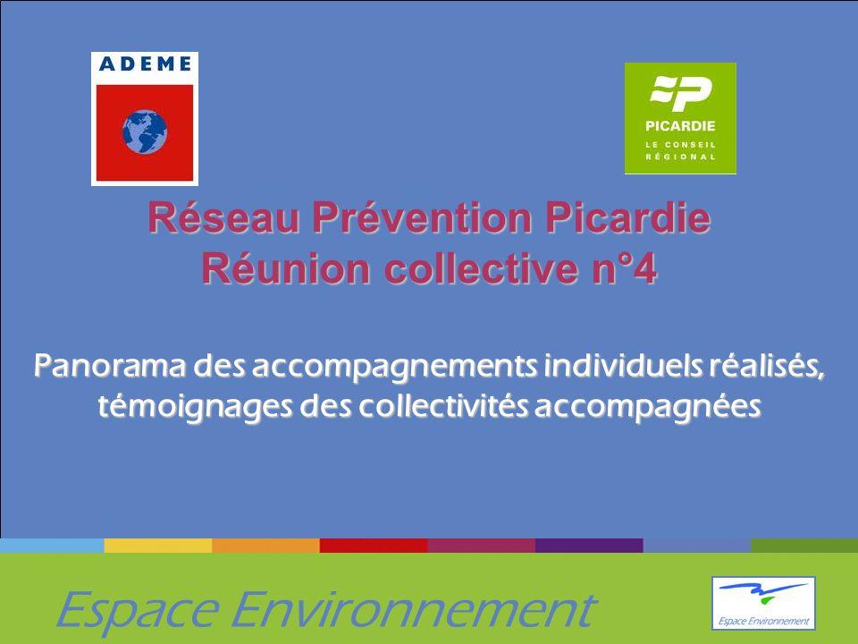 Espace Environnement Réseau Prévention Picardie Réunion collective n°4 Panorama des accompagnements individuels réalisés, témoignages des collectivités accompagnées