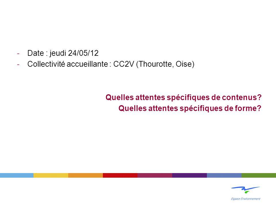 -Date : jeudi 24/05/12 -Collectivité accueillante : CC2V (Thourotte, Oise) Quelles attentes spécifiques de contenus.
