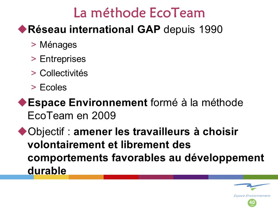 La méthode EcoTeam Réseau international GAP depuis 1990 >Ménages >Entreprises >Collectivités >Ecoles Espace Environnement formé à la méthode EcoTeam en 2009 Objectif : amener les travailleurs à choisir volontairement et librement des comportements favorables au développement durable