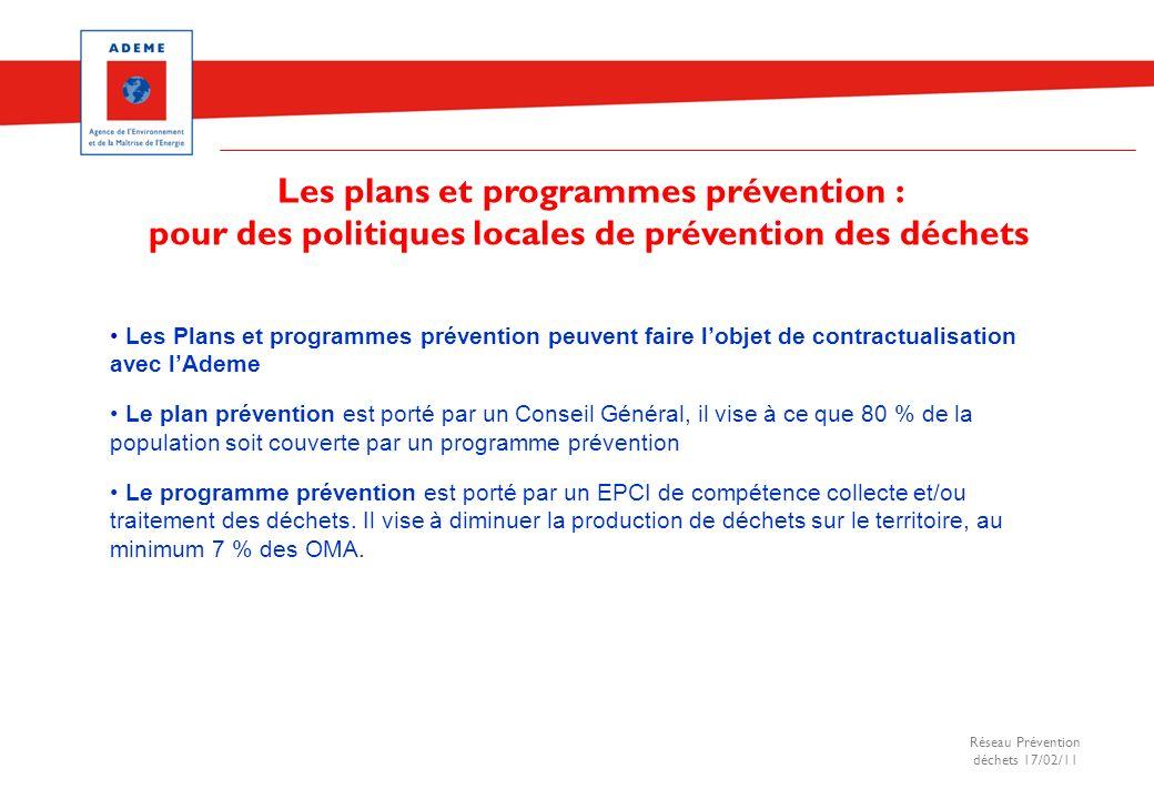 Réseau Prévention déchets 17/02/11 Les Plans et programmes prévention peuvent faire lobjet de contractualisation avec lAdeme Le plan prévention est po