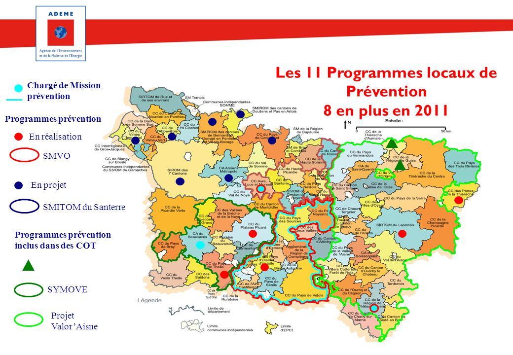 Réseau Prévention déchets 17/02/11 En projet SMITOM du Santerre Programmes prévention inclus dans des COT SMVO SYMOVE Projet ValorAisne Les 11 Program