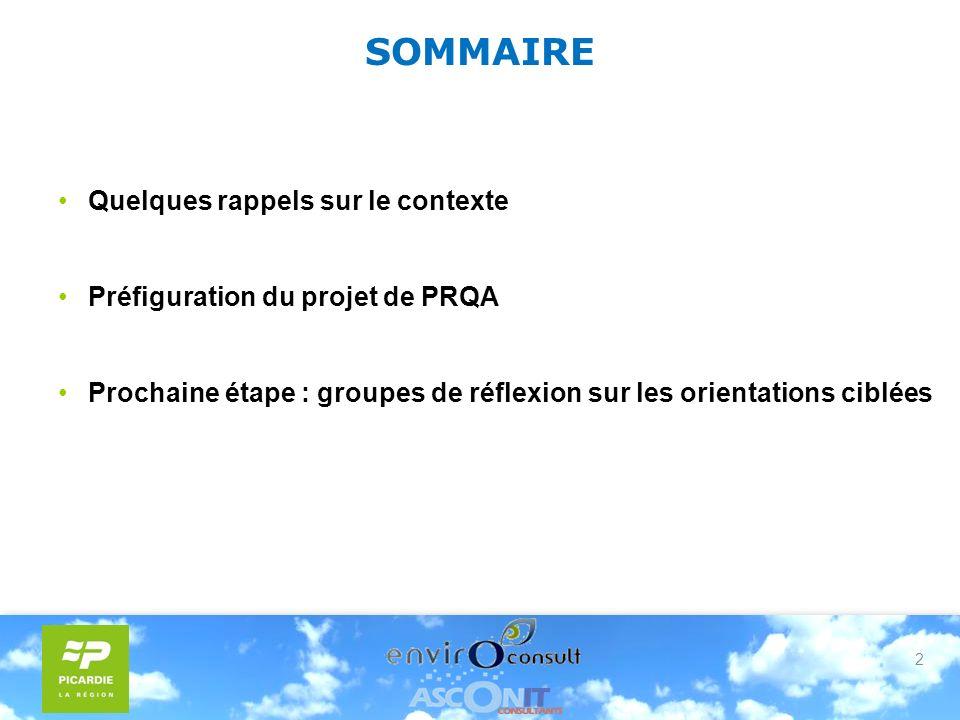2 SOMMAIRE Quelques rappels sur le contexte Préfiguration du projet de PRQA Prochaine étape : groupes de réflexion sur les orientations ciblées