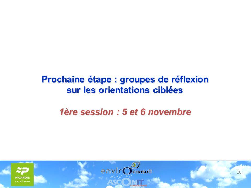 20 Prochaine étape : groupes de réflexion sur les orientations ciblées 1ère session : 5 et 6 novembre