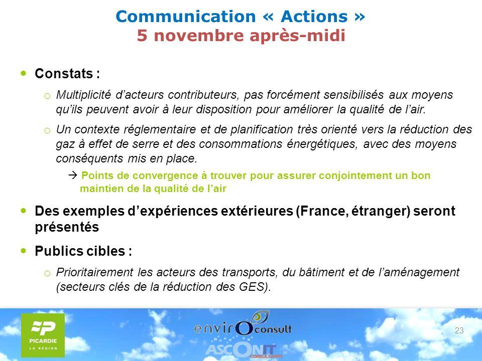 23 Communication « Actions » 5 novembre après-midi Constats : o Multiplicité dacteurs contributeurs, pas forcément sensibilisés aux moyens quils peuvent avoir à leur disposition pour améliorer la qualité de lair.