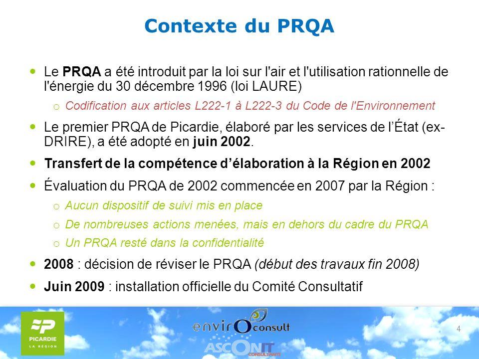 4 Contexte du PRQA Le PRQA a été introduit par la loi sur l air et l utilisation rationnelle de l énergie du 30 décembre 1996 (loi LAURE) o Codification aux articles L222-1 à L222-3 du Code de l Environnement Le premier PRQA de Picardie, élaboré par les services de lÉtat (ex- DRIRE), a été adopté en juin 2002.