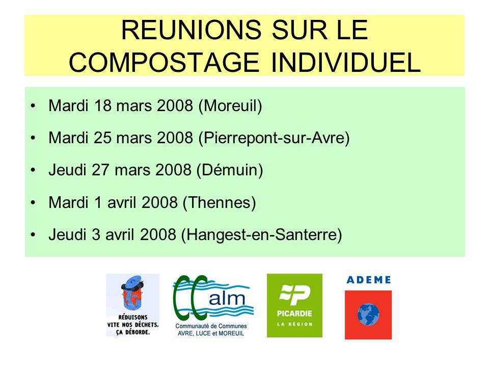 REUNIONS SUR LE COMPOSTAGE INDIVIDUEL Mardi 18 mars 2008 (Moreuil) Mardi 25 mars 2008 (Pierrepont-sur-Avre) Jeudi 27 mars 2008 (Démuin) Mardi 1 avril