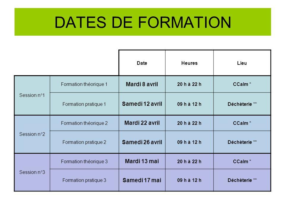 DATES DE FORMATION DateHeuresLieu Session n°1 Formation théorique 1 Mardi 8 avril 20 h à 22 hCCalm * Formation pratique 1 Samedi 12 avril 09 h à 12 hD