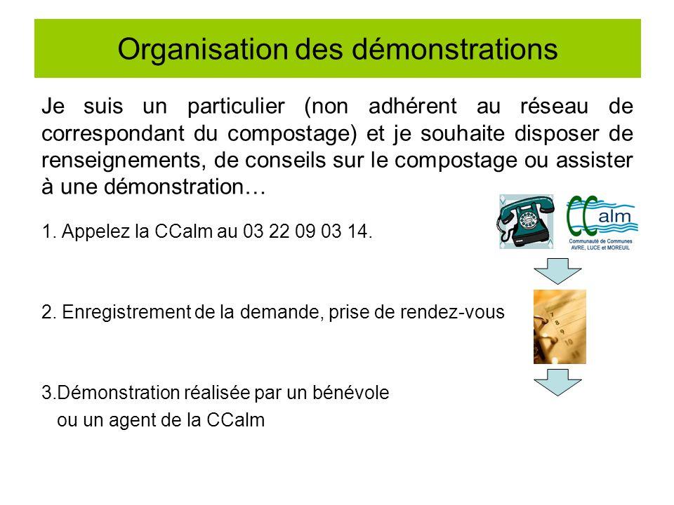 Organisation des démonstrations Je suis un particulier (non adhérent au réseau de correspondant du compostage) et je souhaite disposer de renseignemen