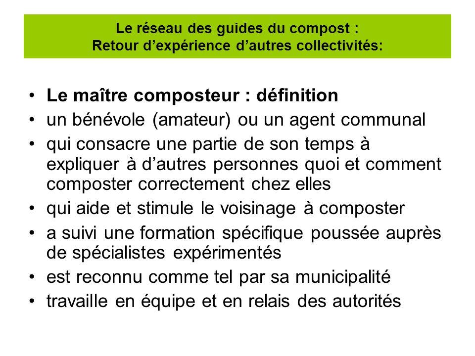 Le maître composteur : définition un bénévole (amateur) ou un agent communal qui consacre une partie de son temps à expliquer à dautres personnes quoi