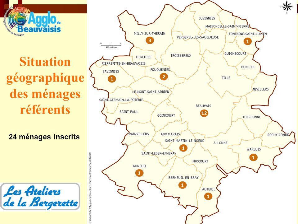 Situation géographique des ménages référents 24 ménages inscrits
