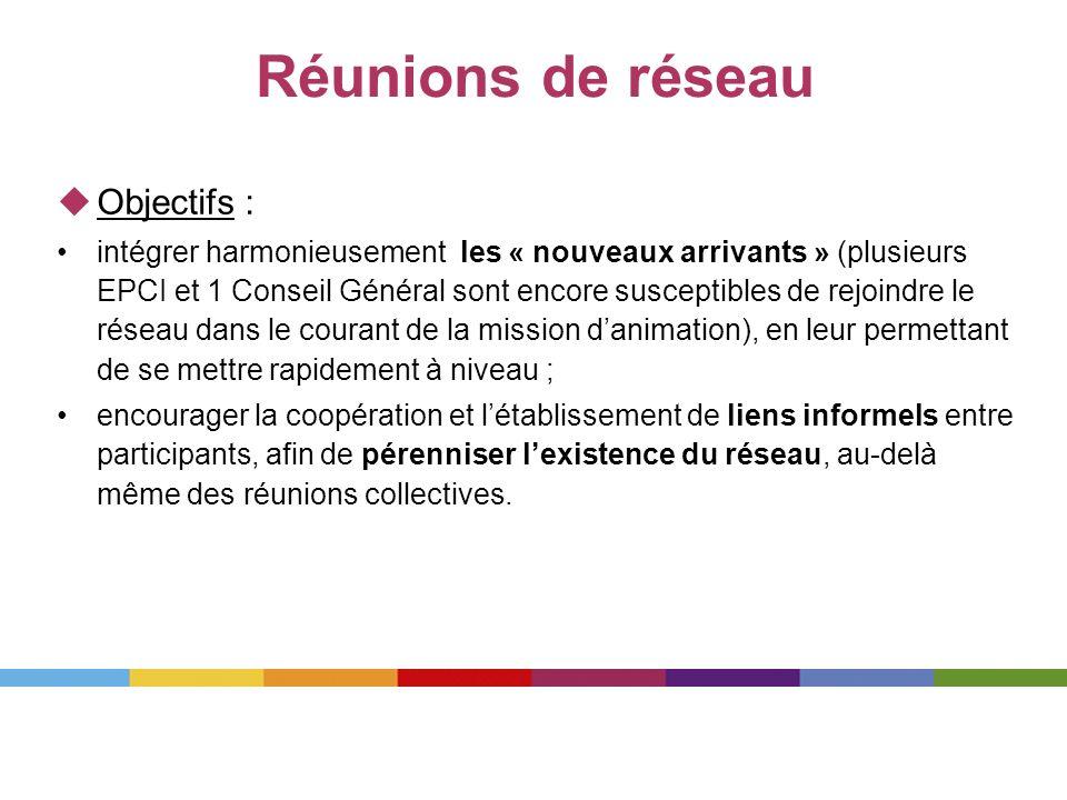 Réunions de réseau Objectifs : intégrer harmonieusement les « nouveaux arrivants » (plusieurs EPCI et 1 Conseil Général sont encore susceptibles de re