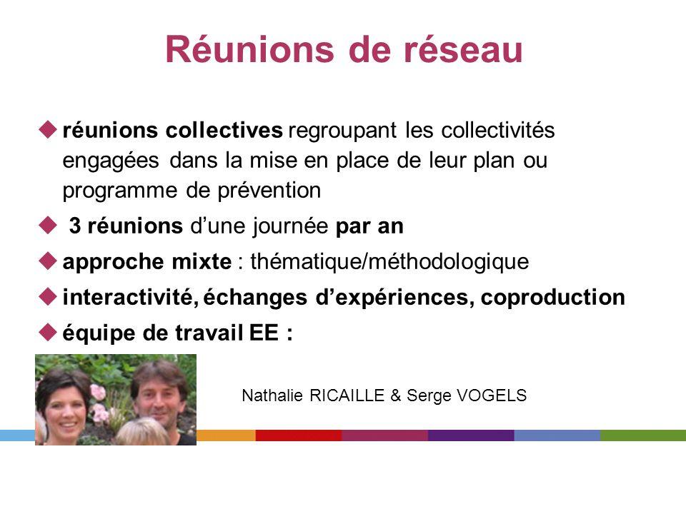 Réunions de réseau réunions collectives regroupant les collectivités engagées dans la mise en place de leur plan ou programme de prévention 3 réunions