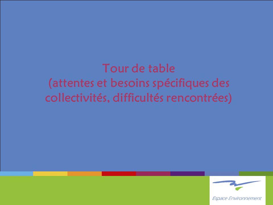 Tour de table (attentes et besoins spécifiques des collectivités, difficultés rencontrées)