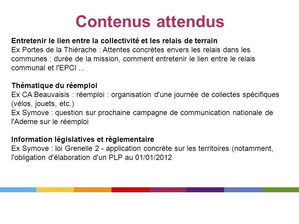 Contenus attendus Entretenir le lien entre la collectivité et les relais de terrain Ex Portes de la Thiérache : Attentes concrètes envers les relais d