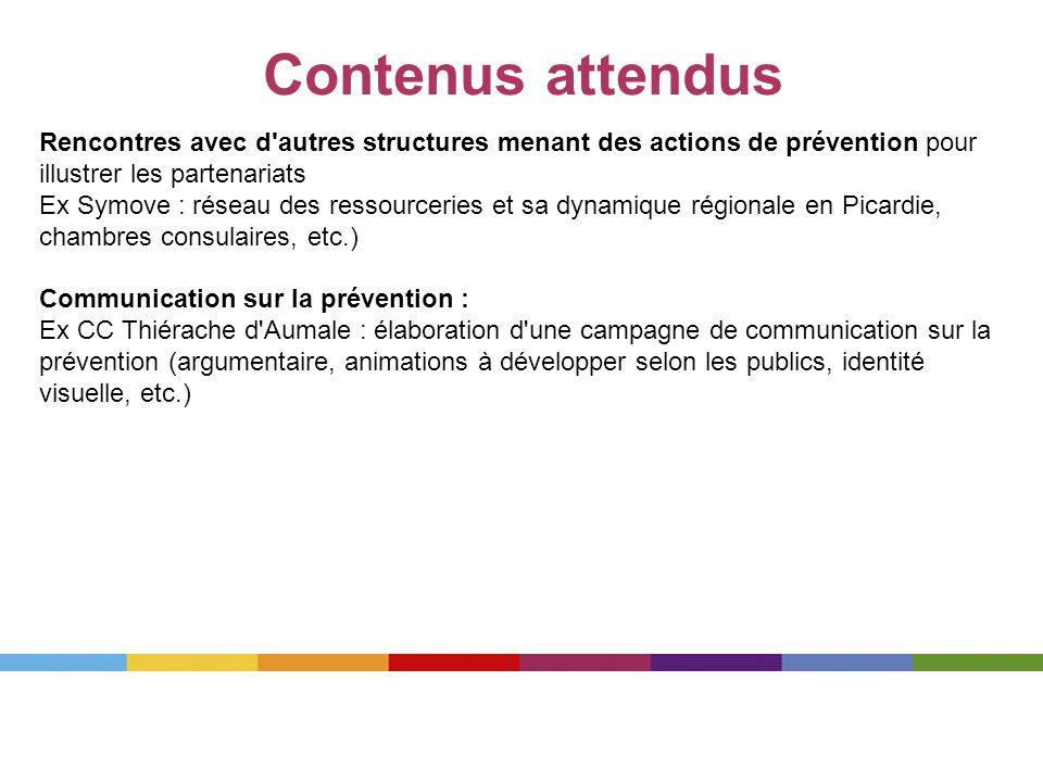 Contenus attendus Rencontres avec d'autres structures menant des actions de prévention pour illustrer les partenariats Ex Symove : réseau des ressourc