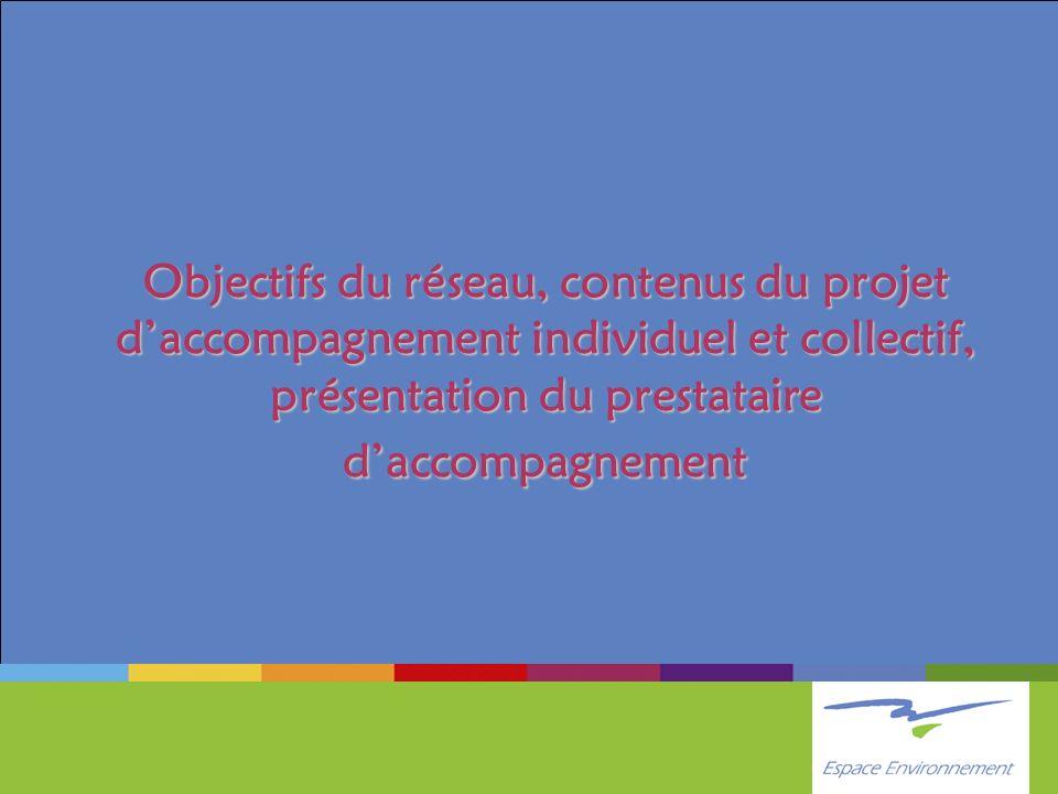 Objectifs du réseau, contenus du projet daccompagnement individuel et collectif, présentation du prestataire daccompagnement