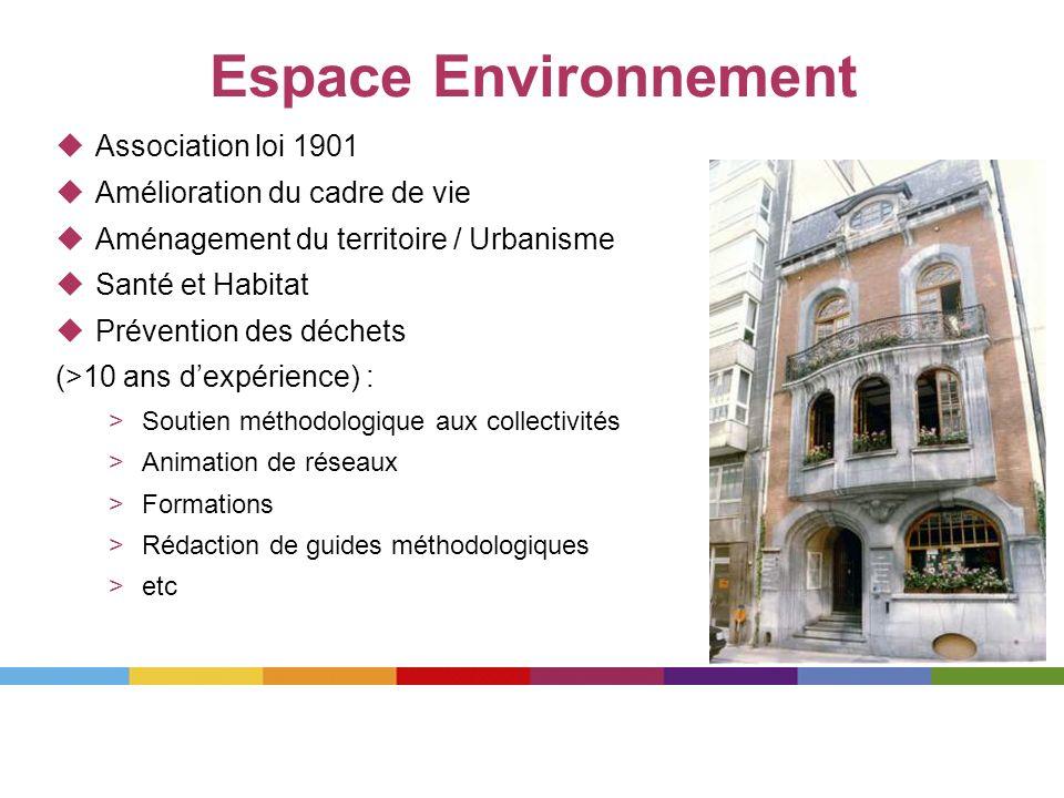Espace Environnement Association loi 1901 Amélioration du cadre de vie Aménagement du territoire / Urbanisme Santé et Habitat Prévention des déchets (