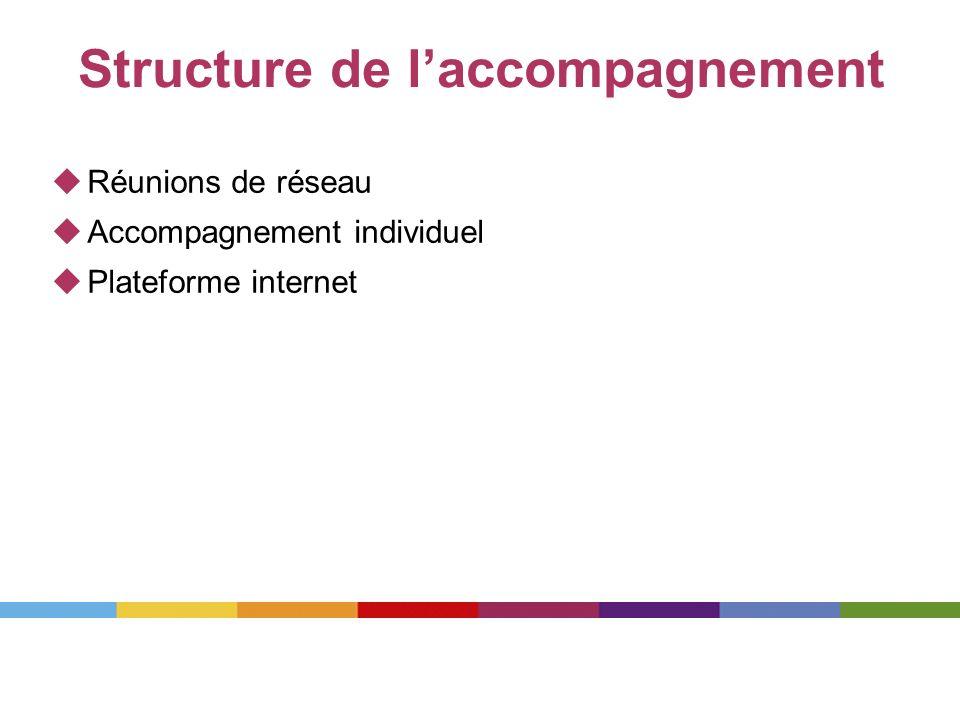 Structure de laccompagnement Réunions de réseau Accompagnement individuel Plateforme internet
