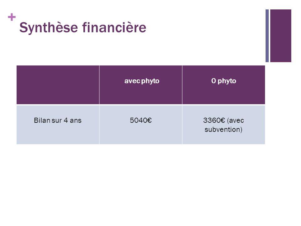 + Synthèse financière avec phyto0 phyto Bilan sur 4 ans50403360 (avec subvention)