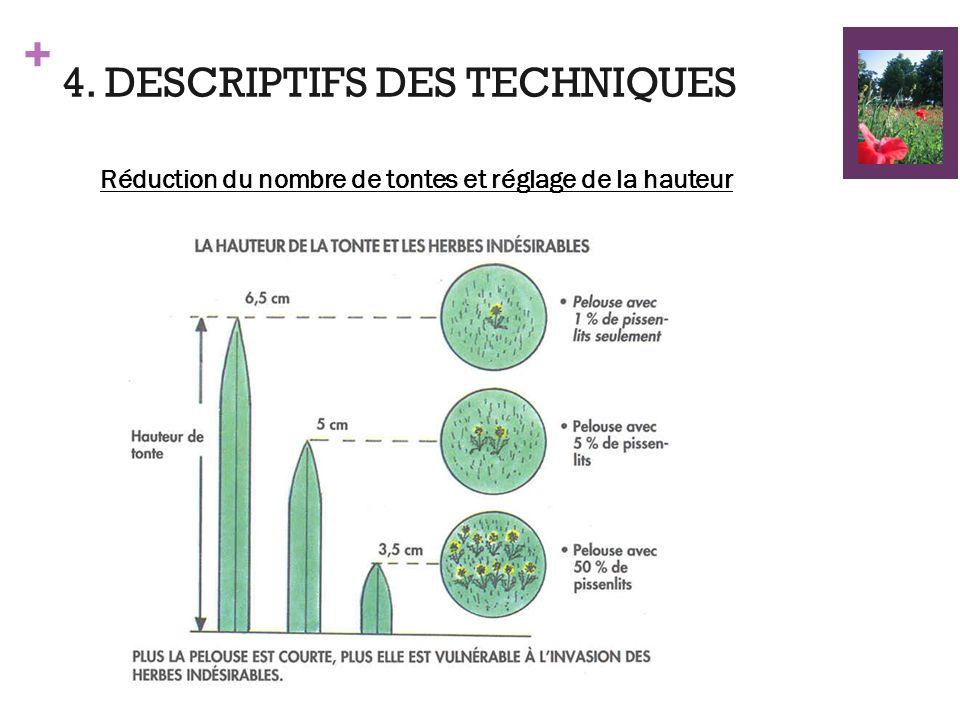 + 4. DESCRIPTIFS DES TECHNIQUES Réduction du nombre de tontes et réglage de la hauteur