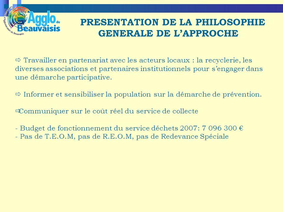 PRESENTATION DE LA PHILOSOPHIE GENERALE DE LAPPROCHE Travailler en partenariat avec les acteurs locaux : la recyclerie, les diverses associations et partenaires institutionnels pour sengager dans une démarche participative.