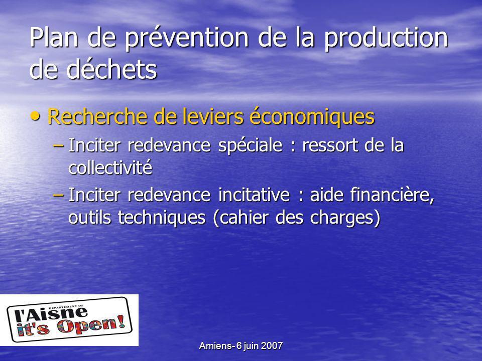 Amiens- 6 juin 2007 Plan de prévention de la production de déchets Recherche de leviers économiques Recherche de leviers économiques –Inciter redevance spéciale : ressort de la collectivité –Inciter redevance incitative : aide financière, outils techniques (cahier des charges)