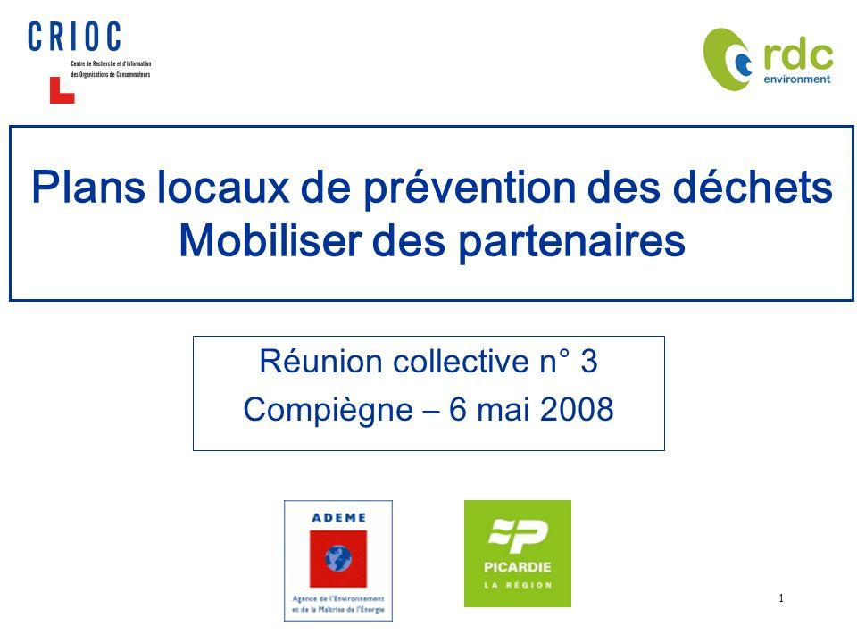 1 Plans locaux de prévention des déchets Mobiliser des partenaires Réunion collective n° 3 Compiègne – 6 mai 2008
