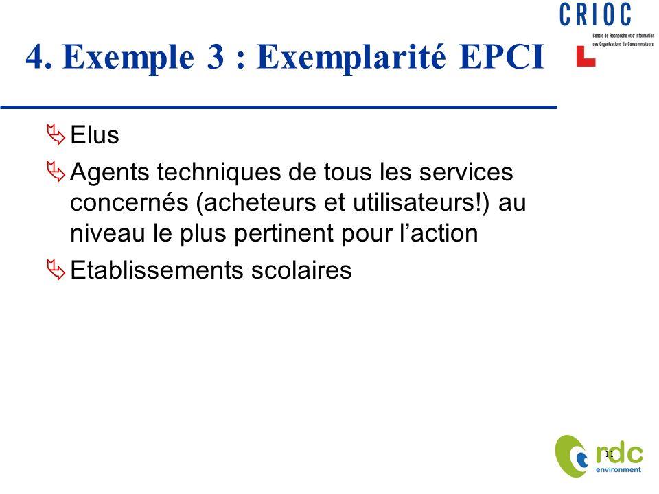 11 4. Exemple 3 : Exemplarité EPCI Elus Agents techniques de tous les services concernés (acheteurs et utilisateurs!) au niveau le plus pertinent pour