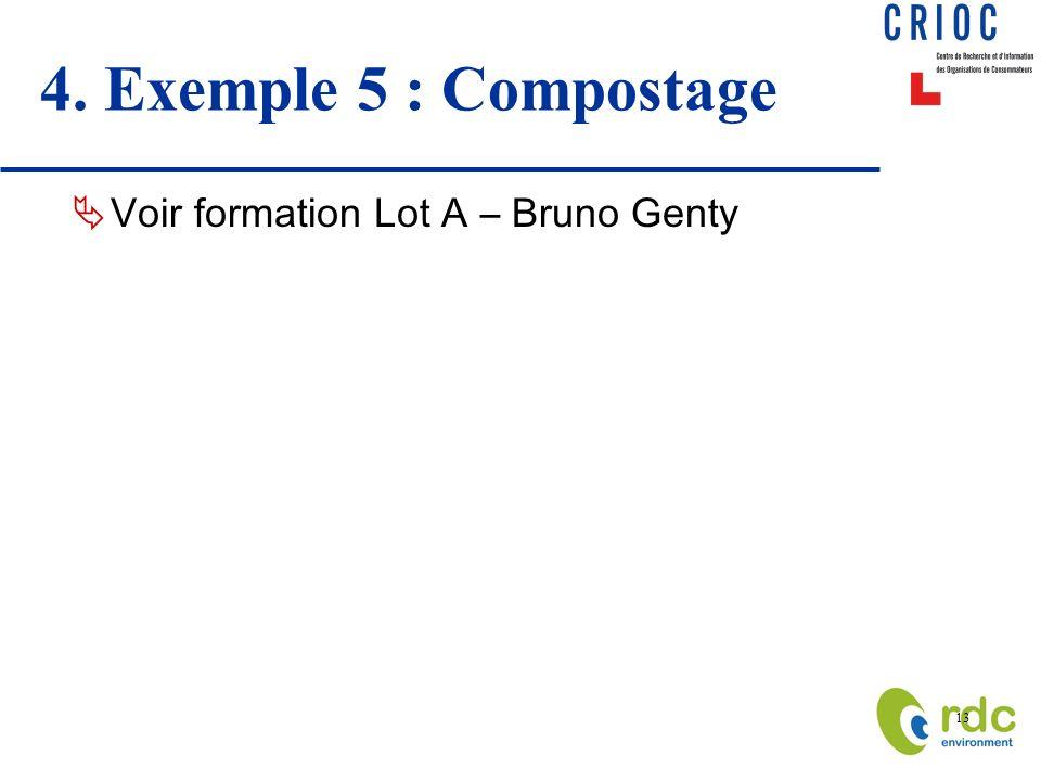13 4. Exemple 5 : Compostage Voir formation Lot A – Bruno Genty