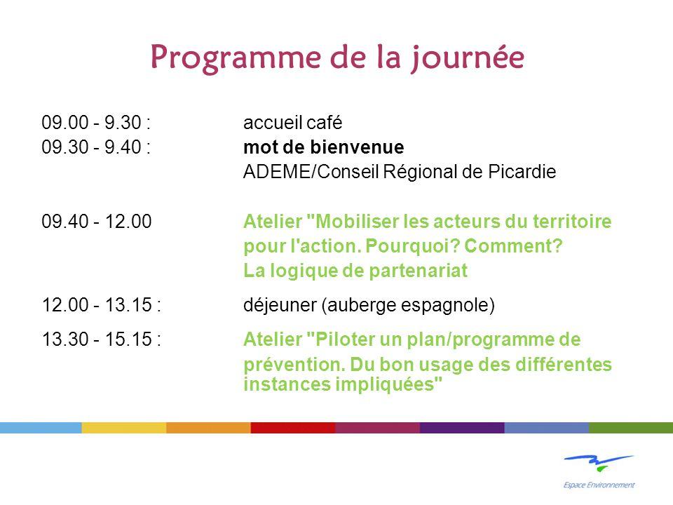 Programme de la journée 09.00 - 9.30 : accueil café 09.30 - 9.40 : mot de bienvenue ADEME/Conseil Régional de Picardie 09.40 - 12.00 Atelier Mobiliser les acteurs du territoire pour l action.
