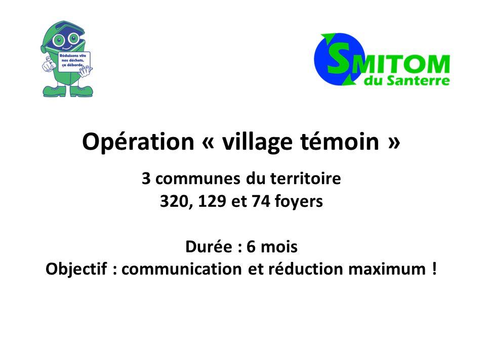 Opération « village témoin » 3 communes du territoire 320, 129 et 74 foyers Durée : 6 mois Objectif : communication et réduction maximum !
