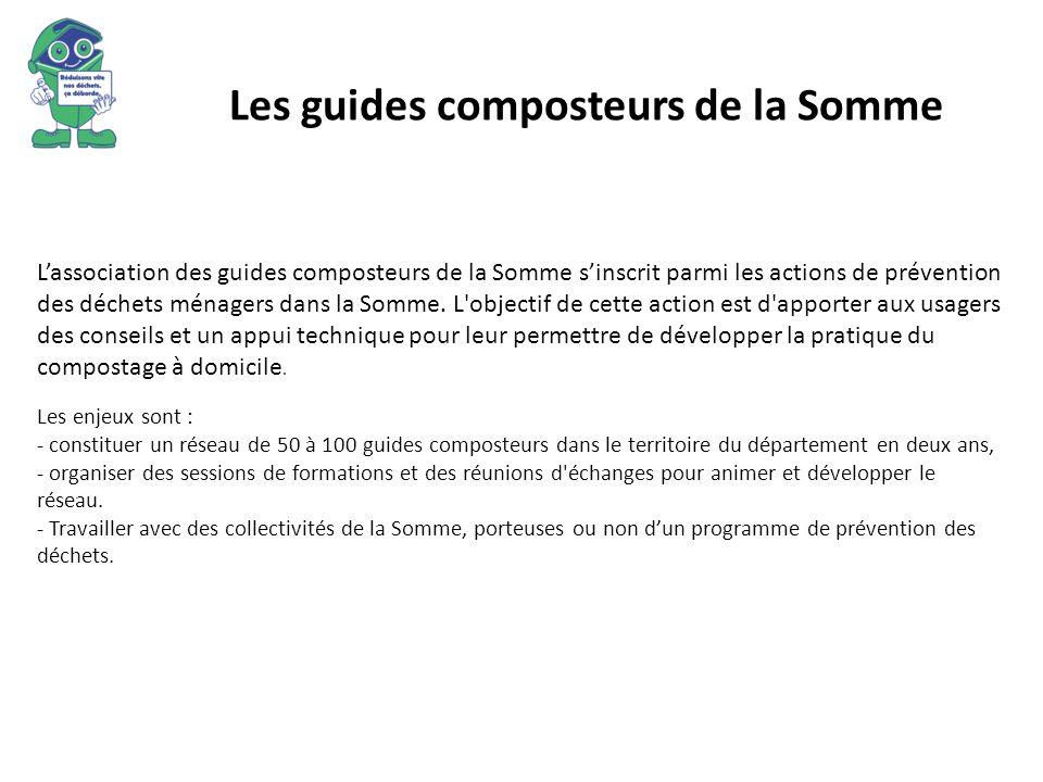 Les guides composteurs de la Somme Lassociation des guides composteurs de la Somme sinscrit parmi les actions de prévention des déchets ménagers dans