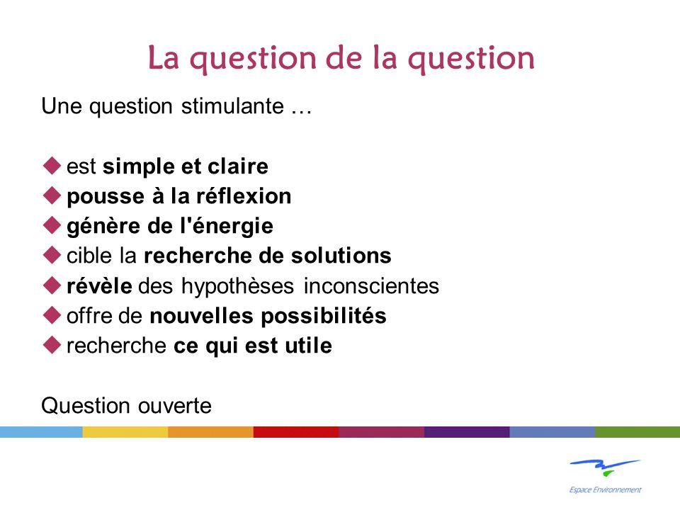 La question de la question Une question stimulante … est simple et claire pousse à la réflexion génère de l'énergie cible la recherche de solutions ré