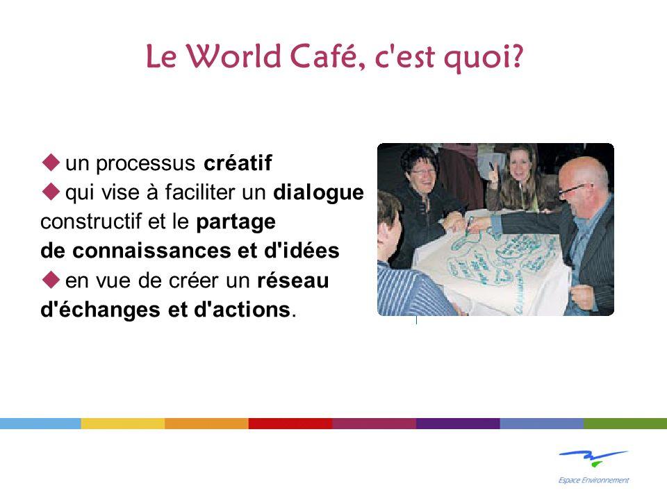 Le World Café, c'est quoi? un processus créatif qui vise à faciliter un dialogue constructif et le partage de connaissances et d'idées en vue de créer