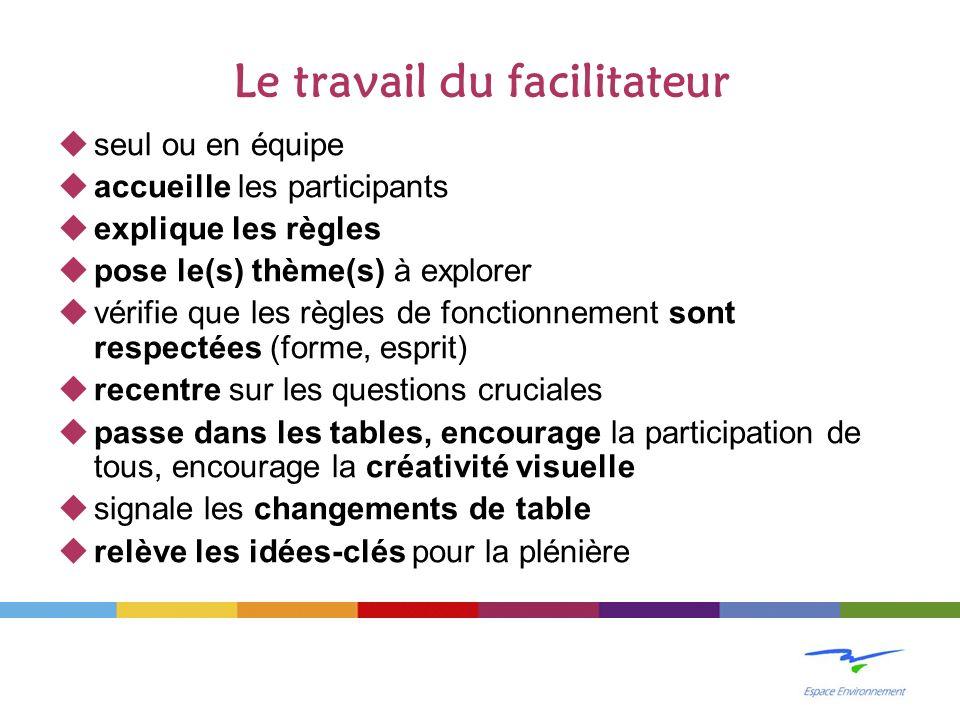 Le travail du facilitateur seul ou en équipe accueille les participants explique les règles pose le(s) thème(s) à explorer vérifie que les règles de f