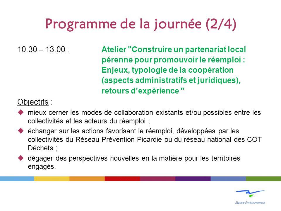 Programme de la journée (2/4) 10.30 – 13.00 : Atelier Construire un partenariat local pérenne pour promouvoir le réemploi : Enjeux, typologie de la coopération (aspects administratifs et juridiques), retours dexpérience Objectifs : mieux cerner les modes de collaboration existants et/ou possibles entre les collectivités et les acteurs du réemploi ; échanger sur les actions favorisant le réemploi, développées par les collectivités du Réseau Prévention Picardie ou du réseau national des COT Déchets ; dégager des perspectives nouvelles en la matière pour les territoires engagés.