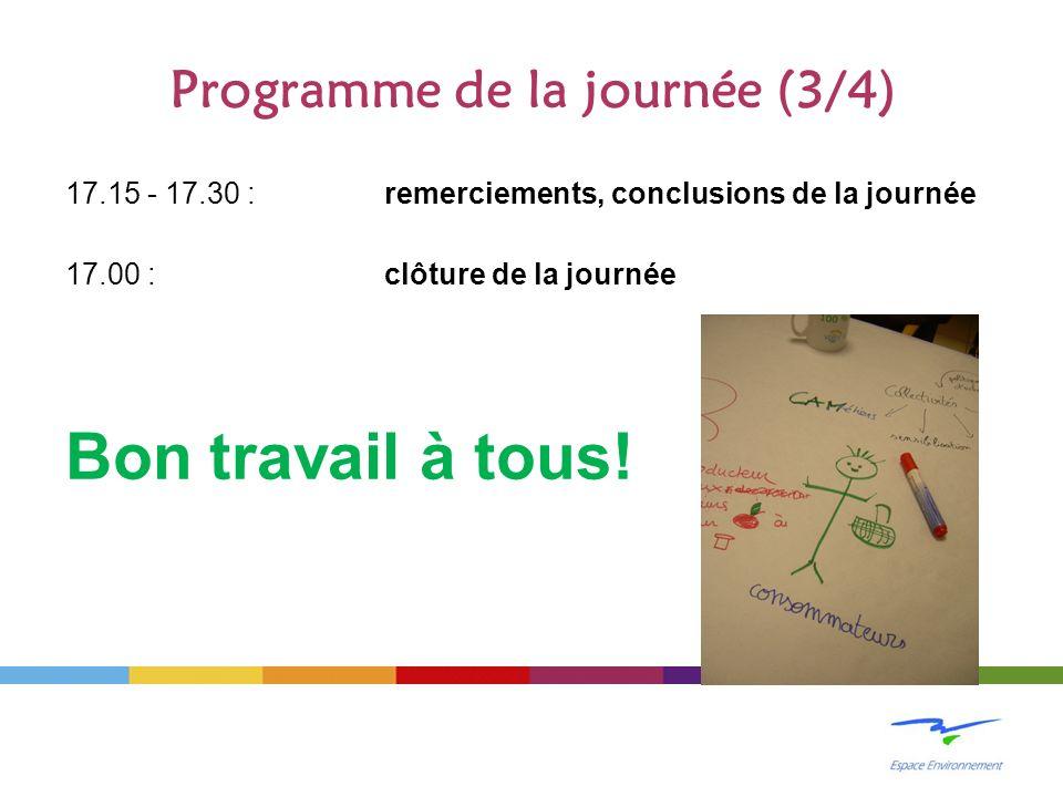 Programme de la journée (3/4) 17.15 - 17.30 : remerciements, conclusions de la journée 17.00 : clôture de la journée Bon travail à tous!